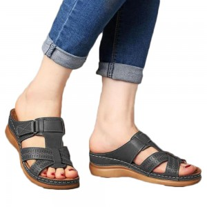 Women Summer Sandal Slip On Shoes Black