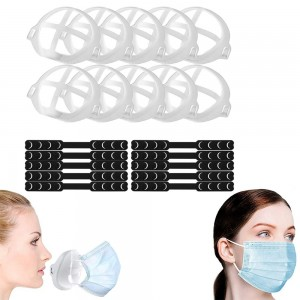 10 Pieces Face Cover Extender Straps and 10 Pieces 3D Face Cover Brackets Support Frames