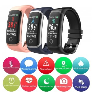 T4 Body Temperature Bracelet Blood Pressure Smart Watch Heart Rate Monitor Fitness Tracker for Men and Women