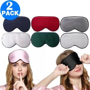 2 Pack Adjustable Super Smooth Blindfold Silk Sleep Eye Mask with Bag