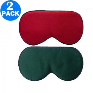 2 Pack Adjustable Super Smooth Blindfold Silk Sleep Eye Mask with Bag Green and Wine Red