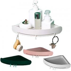 Home Kitchen Bathroom Corner Storage Shelf with 3 Hooks
