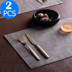 2 Pieces PU Leather Placemat Waterproof Oilproof Table Mat