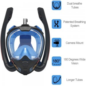 K3 Summer Snorkeling Mask Diving Mask Snorkel Mask with Dual Free Breathing System for Adults Black and Blue