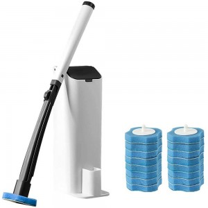 Disposable Toilet Brush Toilet Wand Kit with Holder and 16 Pieces Replacement Heads