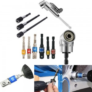 11 Pieces Flexible Drill Extension Hex Shank Drill Nut Driver Bit Set Bendable Drill Bit Extension Kit Socket Adapter Set Screwdriver Bit Set Tools