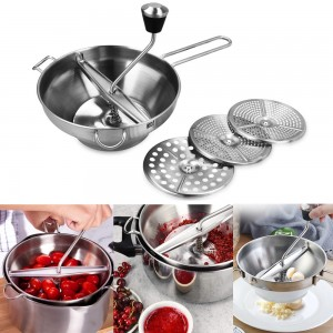 19cm Stainless Steel Rotary Food Mill Food Puree Maker with 3 Discs Kitchen Kitchenware Vegetable Food Grinder Masher