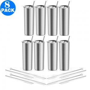 8 Pack 20 OZ Skinny Stainless Steel Tumbler Double Wall Slim Insulated Tumbler with Lid and Straw and Brush