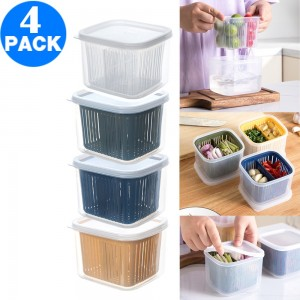 4 X Kitchen Square Drain Sealed Box Ginger Garlic Onion Food Container Refrigerator Storage Draining Bowl with 2 Compartment