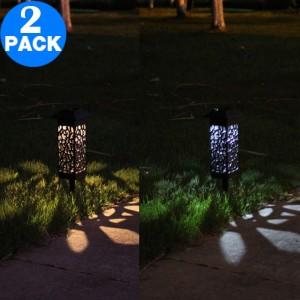 2 X Solar Powered LED Light Path Lighting Landscape Light Lawn Stake Light Garden Decoration Hollow Lamp