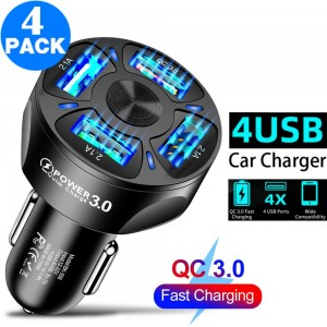 4 X Same Colour 4 In 1 4 USB QC 3.0 Fast Charging Car Charger Adapter Car Accessories with LED Lights