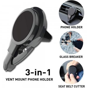 3 In 1 Car Phone Holder with Emergency Escape Tool Universal Air Vent Magnetic Cell Phone Mount Holder Seat Belt Cutter Window Breaker