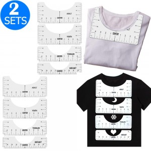 2 X 4Pcs T Shirt Alignment Rulers Guide DIY Craft Tools Kit T Shirt Centering Tools Set Adult Youth Toddler Infant