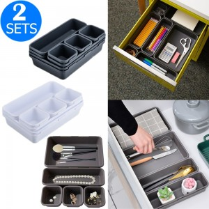 2 X 8PCS Desk Drawer Organisers Makeup Storage Boxes Set for Office Customizable Bathroom Home Kitchen
