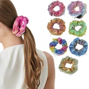 7PCS Women Shiny Metallic Zipper Pocket Velvet Scrunchies Hair Ties Girl Stuff Scrunchy Hair Elastic Bands for Sister Friend