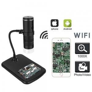 Wireless Digital Microscope 50X to 1000X WiFi Microscope Camera Magnifier with 8 LED Light Not Support PC
