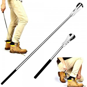 2 X Extendable Shoe Lifter Adjustable Length Stainless Steel Shoe Spoon for Elders Pregnant Woman