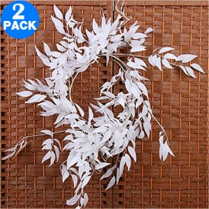 2 X Artificial Greenery Leaves Vines Plants Home Office Wedding Decoration Photography Props Style 2 White