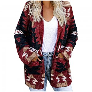 Women Geometric Pattern Open Front Long Sleeve Pocketed Cardigan Red