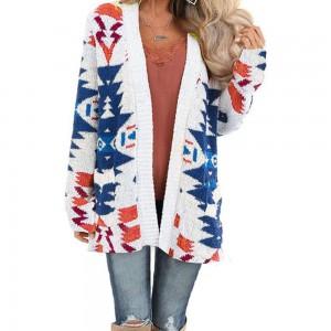 Women Geometric Pattern Open Front Long Sleeve Pocketed Cardigan White