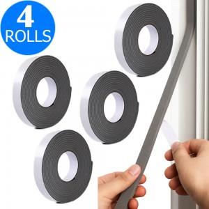 4 Rolls 5M Weather Stripping Sponge Foam Strip Tapes Draught Excluder Door Window Seal Rolls Grey