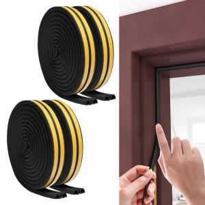 4 Rolls 5M D Type Door Weather Stripping Window Seal Strips Self Adhisive Gap Blockers Black