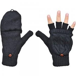 1 Pair of Unisex Warm Winter Flip Twist Fingerless Gloves One Size Half Finger Convertible Flap Cover Mittens for Men and Women Black