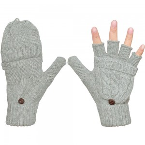 1 Pair of Unisex Warm Winter Flip Twist Fingerless Gloves One Size Half Finger Convertible Flap Cover Mittens for Men and Women Grey