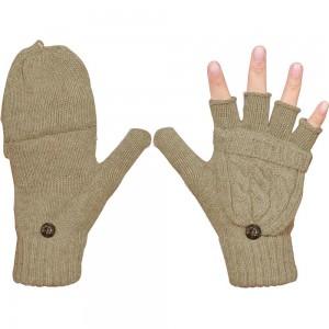 1 Pair of Unisex Warm Winter Flip Twist Fingerless Gloves One Size Half Finger Convertible Flap Cover Mittens for Men and Women Khaki