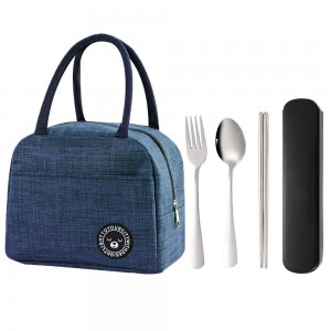 Blue Insulated Lunch Bag and 3 Pieces Stainless Steel Cutlery Fork Spoon Chopsticks Set