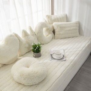 70x150CM Plush Bay Window Seat Cover Windowsill Balcony Area Seat Pad Window Bench Couch Covers Sofa Mat Beige WITHOUT PILLOWCASE