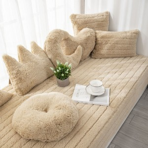 70x90CM Plush Bay Window Seat Cover Windowsill Balcony Area Seat Pad Window Bench Couch Covers Sofa Mat Camel WITHOUT PILLOWCASE