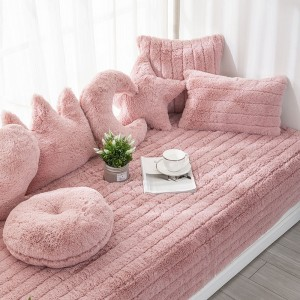 70x90CM Plush Bay Window Seat Cover Windowsill Balcony Area Seat Pad Window Bench Couch Covers Sofa Mat Pink WITHOUT PILLOWCASE