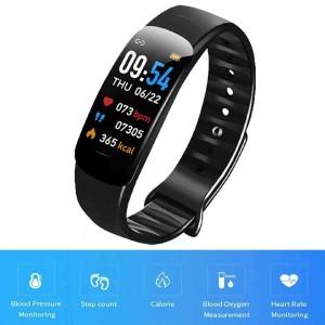C1Plus Smart Bracelet Waterproof Fitness Tracker Heart Rate Blood Pressure Monitor Smart Watch Black