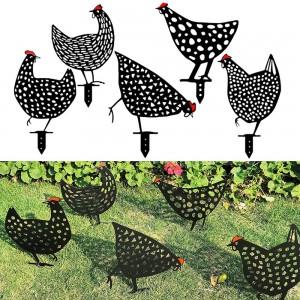 5PCS Garden Ornaments Black Chicken Statues Decorations Set for Yard Backyard Lawn