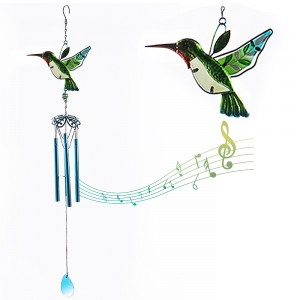 Stained Glass Wind Chimes Green Hummingbird Wind Chimes Home Decor for Mothers Day