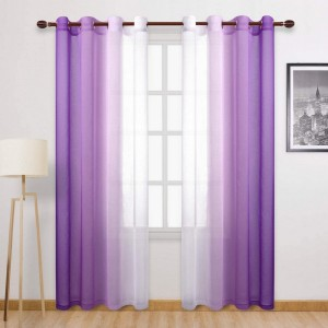 1.32x2.14M Set of 2 Drape Panels Light Filtering Semi Sheer Grommet Curtains Grommet Top Curtains Home Decorations for Bedroom Living Room Purple