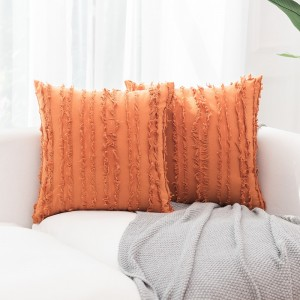 4PCS 45 x 45CM Home Decorative Tassels Design Boho Throw Pillow Cases Cotton Linen Striped Cushion Covers for Sofa Couch Living Room Bedroom Orange