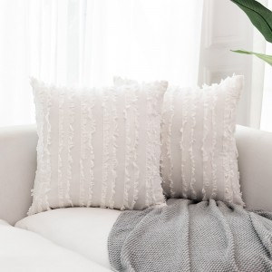 4PCS 45 x 45CM Home Decorative Tassels Design Boho Throw Pillow Cases Cotton Linen Striped Cushion Covers for Sofa Couch Living Room Bedroom White
