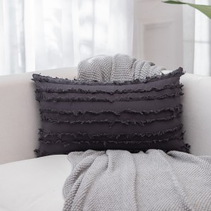 4PCS 30 x 50CM Home Decorative Tassels Design Boho Throw Pillow Cases Cotton Linen Striped Cushion Covers for Sofa Couch Living Room Bedroom Grey