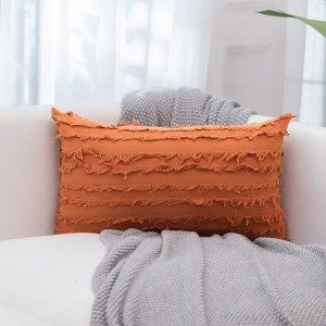 4PCS 30 x 50CM Home Decorative Tassels Design Boho Throw Pillow Cases Cotton Linen Striped Cushion Covers for Sofa Couch Living Room Bedroom Orange