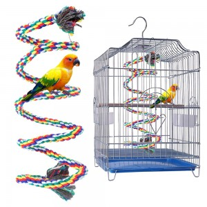 1.5M Parrot Rope Bird Cage Coil Swing Birdie Rope Bird Toy with Bell