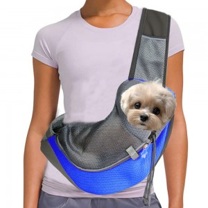 Pet Dog Sling Carrier Outdoor Adjustable Shoulder Bag Mesh Bag for Small Dogs Cats Puppies Blue S