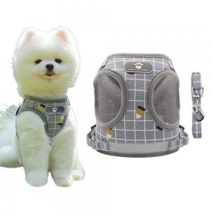Printed Pet Dog Walking Jacket Cat Reflective Harness Puppy Lead Leash Vest Grey XS