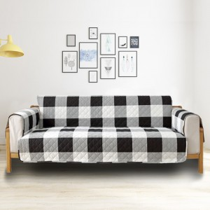 Classic Lattice Quilted Couch Sofa Cover Slipcover Living Room Home Decoration Black 3 Seater Sofa