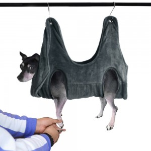 Small Pet Grooming Hammock Bathing Drying Towel Nail Trimming Scratching Restraint Hammock for Dog and Cat with 2 Hooks Grey