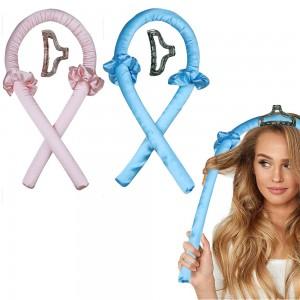 2 X Pink Light Blue Heatless Hair Curler Sponge Roller Foam Stick with Clip