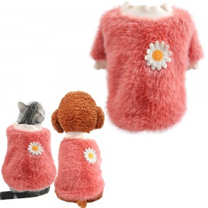 S Pink Daisy Design Pet Turtleneck Pullover Clothes Winter Soft Plush Clothes for Cat Dog Puppy