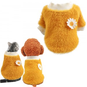 S Yellow Daisy Design Pet Turtleneck Pullover Clothes Winter Soft Plush Clothes for Cat Dog Puppy