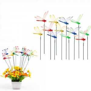 20Pcs 4 Colours Dragonfly Garden Stakes Colorful Dragonfly Stakes Indoor Outdoor Decoration Yard Stakes Decor